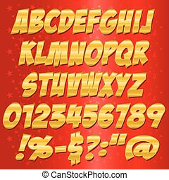comics Gold style alphabet collection set.