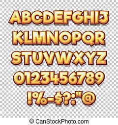comics style alphabet collection set.