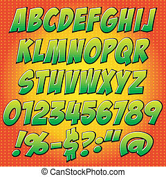 comics style alphabet.