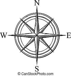 compass vector icon (retro design)