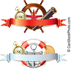 Two compositions with marine items and empty ribbon banners for your text