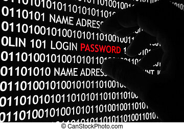 Computer security concept shot, with binary code and password text, great for technology, online security and digital lifestyle themes.