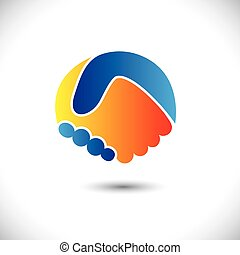Concept vector graphic icon - business people or friends hand shake. This illustration can also represent new partnership, friendship, unity and trust, greeting & gestures, etc