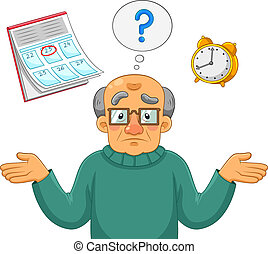 Old man feeling confused and forgetful