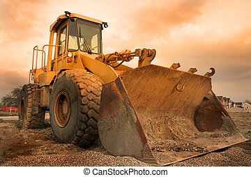 Construction equipment with colourful sky background in michigan