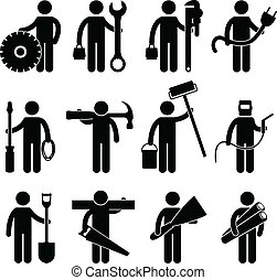A set of construction worker job and occupation in pictogram.
