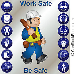 Construction worker wearing personal protection equipment and safety icons
