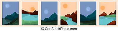 Contemporary abstract landscape. Art modern landscape, sun boho wall decor. Moon sea or river in mountain, minimal recent vector background