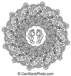 Contour zen mandala with arches and fantasy curls and a symbol in the center, zodiac sign Gemini in a round doodle frame with wavy lines, anti stress coloring book page