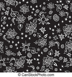 Seamless line art pattern with abstract sunflowers, flowers, stars and other elements. Contrast doodle style pattern. Vector file is EPS8, all elements are grouped by colors. Drop pattern into your AI swatches and use as fill.