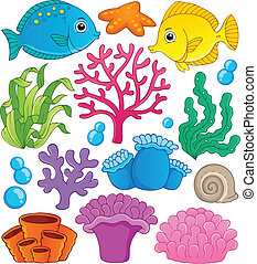 Coral reef theme collection 1 - vector illustration.