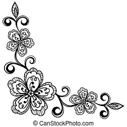 corner ornamental lace flowers. black and white.