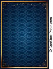 Corner patterns on blue wallpaper