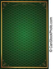 Corner patterns on green wallpaper