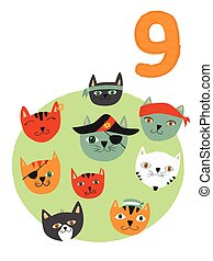 Counting from 1 to 10. Number 9, page with colorful illustration. Pirate cats. Composition for books, cards, posters
