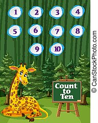 Counting number one to ten with giraffe in the woods background