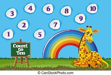Counting number one to ten with giraffe sitting in the field