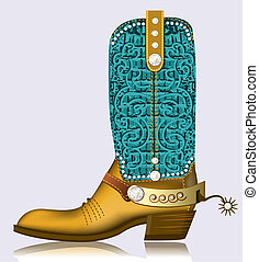 ccowboy boot and spur. Luxury shoe with diamonds and decoration
