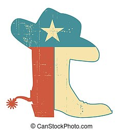 Cowboy boots and hat Texas flag decoration. Grunge vector American symbol vintage illustration isolated on white.