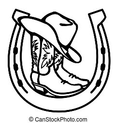 Cowboy boots and western hat in horseshoe sign. Vector graphic black symbol of cowboy illustration isolated on white for print
