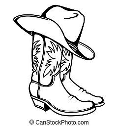 Cowboy boots and western hat. Vector graphic hand drawn illustration rodeo cowboy clothes isolated on white for print