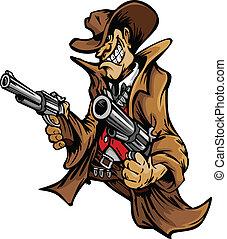 Cowboy Cartoon Mascot Aiming Guns