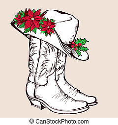 Cowboy Christmas boots and hat. Vector graphic illustration