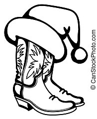 Cowboy Christmas traditional boots and Santa hat isolated on white background. Vector printable graphic illustration
