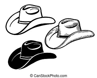 Cowboy hat. Set of American traditional Western hats isolated on white