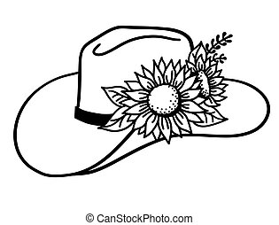 Cowboy hat with flowers. Vector Western hat with sunflowers isolated on white