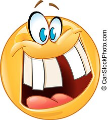 Emoticon with crazy smile revealing a gap tooth