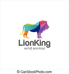 Creative Abstract Colorful Lion Logo  Icon Design Vector. Wild Animal Logo Template. Kingdom Logo Mascot