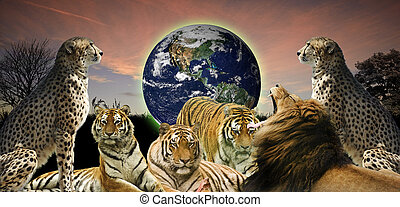 Creative concept image of animal wildlife protecting the planet Earth as it belongs to them as well as humans