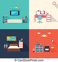 creative furniture icons set in flat design