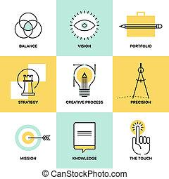 Creative process design flat line icons