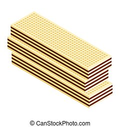 Crispy wafer, chocolate cream flavor isometric view isolated on white background.