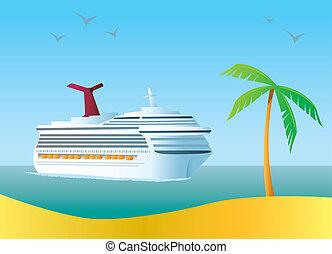 A cruise ship arriving at a tropical island destination.