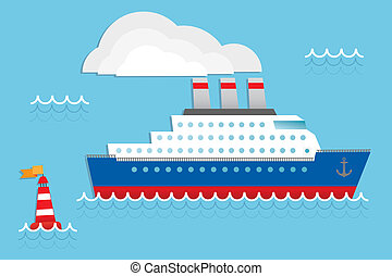 Cruise liner, cruise ship vector illustration