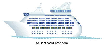Cruise ship isolated on white. No transparency and gradients used.