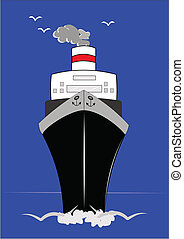 frontal view of ocean liner with horizon behind it