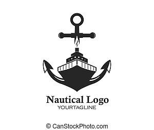 cruise ship Logo Template vector icon anchor