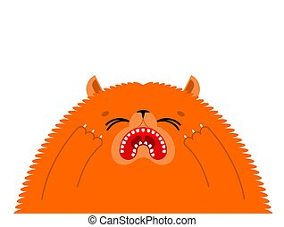 Crying cat. Upset pet. weeping kitty. Vector illustration
