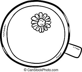 Cup of camomile tea doodle. Hand drawn cartoon style cute image