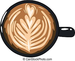 Cup of coffee. Hand drawn cartoon style coffee beverage drink