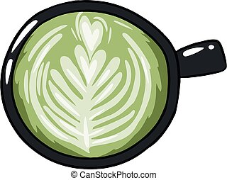 Cup of green coffee. Hand drawn cartoon style coffee beverage drink