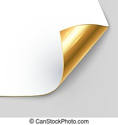 Curled golden page corner with shadow vector template.