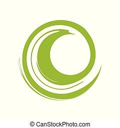 Custom Zen Wave Green Symbol Logo Design