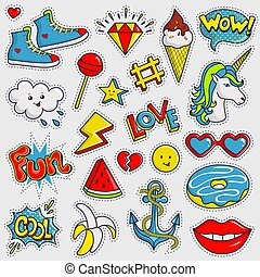 Cute and trendy patches. Vector stickers.