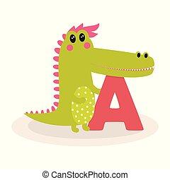 cute animal alphabet with crocodile