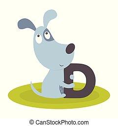 cute animal alphabet with dog
